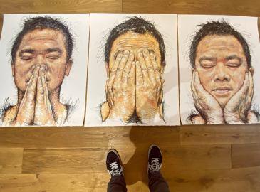Hom Nguyen Lithographies, autoportraits tryptique